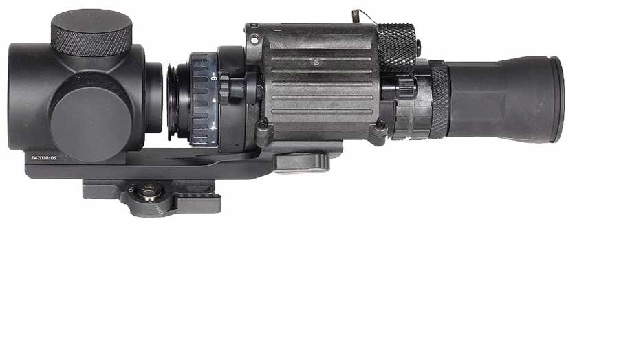 Sector Optics designed a variety of afocal adapters for Night Vision, including 3x, 6x and numerous mounts, allowing PVS-14, PVS-15 and PVS-18 to be mounted as clip-ons.