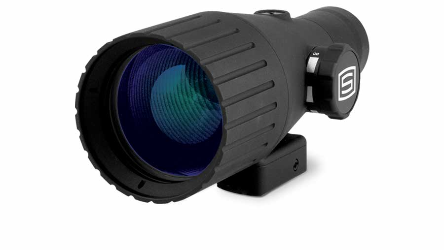 """Sector Optics ScopeX4 adapter quadruples the power of most 30mm or 1"""" scopes by attaching to the end of that size scope tube."""